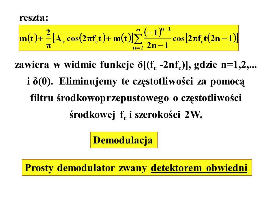 zawiera w widmie funkcje δ[(fc -2nfc)], gdzie n=1,2,...